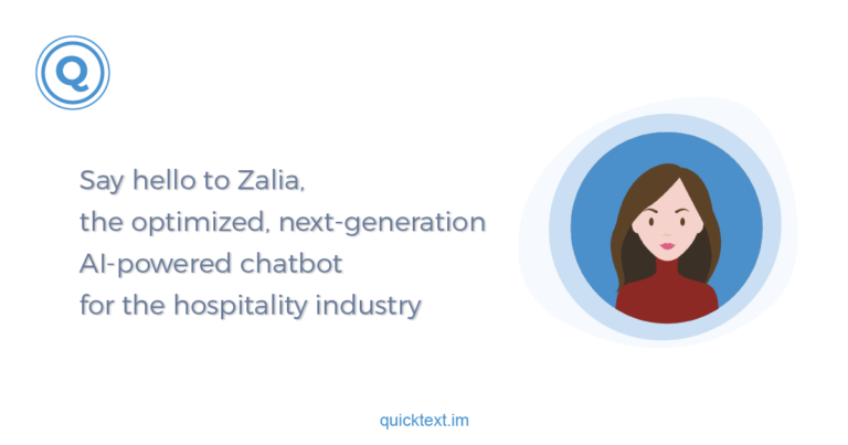 zalia the Ai powered chatbot for hotels quicktext