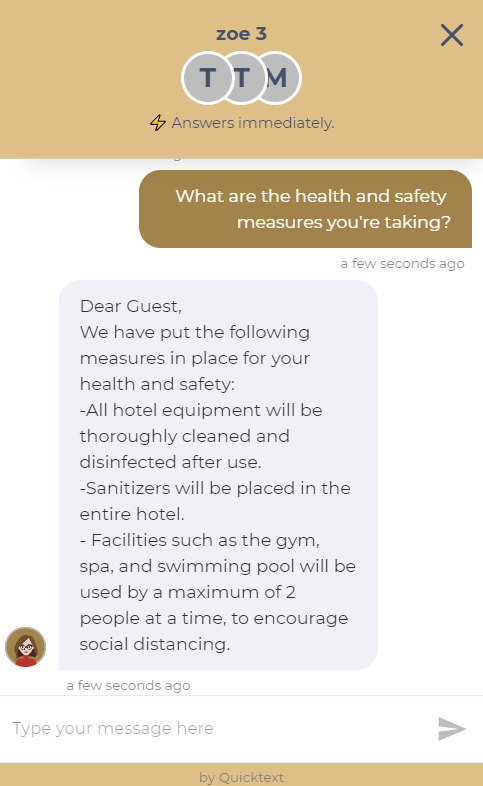 Hotel chatbot answers client question on EHS protocols.