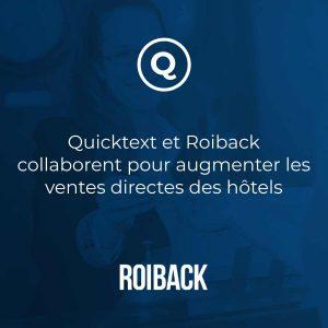 Quicktext et Roiback collaborent pour augmenter les ventes directes des hôtels